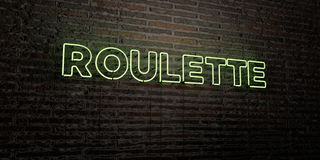 ROULETTE -Realistic Neon Sign on Brick Wall background - 3D rendered royalty free stock image Stock Images