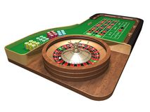 Roulette table. Rendered 3D roulette table over white background Stock Photos