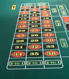 Roulette Table. View of the numbers on a roulette table stock photos