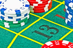 Roulette table. The 13 number at a roulette table royalty free stock photos