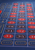 Roulette Table on Blue Felt Royalty Free Stock Photography