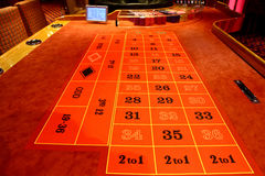 Roulette table in a casino. A Roulette table in a casino royalty free stock photography