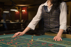 Roulette table in casino Royalty Free Stock Photos