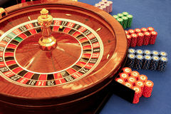 Roulette table in casino close-up Stock Photography