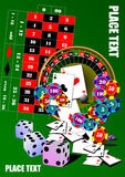 Roulette table and casino elements Stock Photos