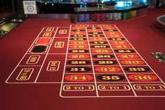 Roulette table in casino. Red in Las Vegas royalty free stock photography