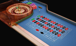 Roulette table close up view. Blue felt Royalty Free Stock Image