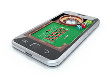 Roulette table in the mobile phone Royalty Free Stock Photos