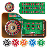 Roulette table. Vector illustration of american roulette table and tokens Royalty Free Stock Photos