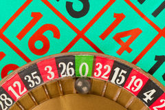 Roulette table, wheel and ball Royalty Free Stock Images