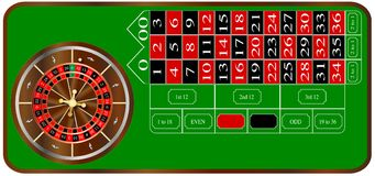 Roulette. A typical American roulette table layout over a white background royalty free illustration