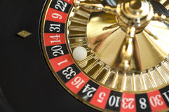 Roulette wheel. With white plastic ball close-up stock photo