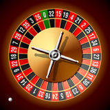 Roulette wheel. Vector illustration of a roulette wheel with a small ball royalty free illustration