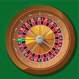 Roulette wheel. Brown roulette wheel for casino games on green background Royalty Free Stock Photography