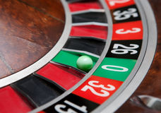 Roulette wheel. With ball on zero royalty free stock photography