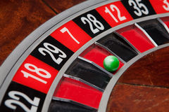 Roulette wheel. With ball on seven royalty free stock photos