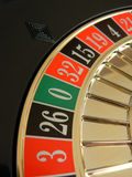 Roulette wheel. With focus on zero royalty free stock photo