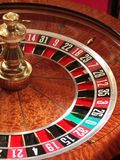 Roulette wheel. In casino (macro stock images