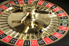 Roulette Wheel. Showing the lucky number 7 stock photo