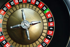 Roulette wheel. Background of a casino roulette wheel royalty free stock photo