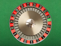 Roulette Wheel. On green felt royalty free stock images