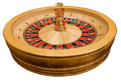 Roulette wheel. Gold roulette wheel on white background stock photos