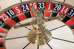 Roulette wheel. Casino roulette wheel without playball stock photo