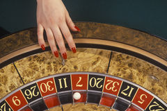 Roulette Wheel. In a casino royalty free stock images
