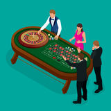Roulette wheel and croupier in casino. Group of young people behind roulette table in a casino. Casino concept. Flat 3d Stock Image