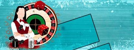 Roulette wheel an dealer girl Stock Photo