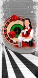 Roulette wheel an dealer girl Stock Photography