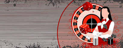 Roulette wheel an dealer girl Stock Photography