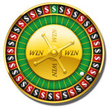 Roulette Wheel Dollars Symbol Win. Roulette wheel with dollar symbol instead of numbers and the words WIN on the golden plate. Isolated vector illustration on Stock Images