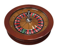 Roulette wheel with double zero. 3d modelled and isolated on white background, clipping path included Royalty Free Stock Images