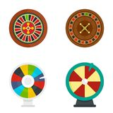 Roulette wheel fortune icons set, flat style vector illustration