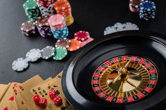 Roulette wheel gambling in a casino table. royalty free stock photos