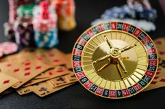 Roulette wheel gambling in a casino table. Stock Photo
