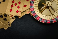 Roulette wheel gambling in a casino table. stock images