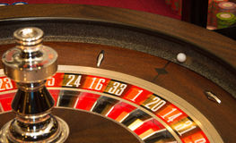 Roulette wheel. A game of roulette in play Royalty Free Stock Image