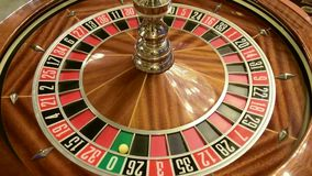 Roulette wheel spinning. Details live casino stock video