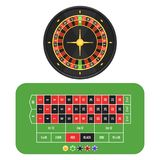 Roulette wheel, table and chips Royalty Free Stock Image