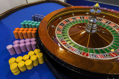 Roulette wheel and table detail. Gambling Royalty Free Stock Photography