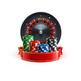 Roulette  on white realistic casino object with red ribbon and  chips Royalty Free Stock Images