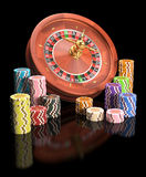 Roulettekessel-Chips Lizenzfreies Stockfoto