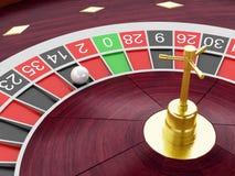 Roulettekessel des Kasinos 3d mit Ball auf Nr. 14 Stockbild