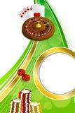Rouletten för kasinot för grön guld för bakgrund cards den abstrakta illustrationen för ramen för chipskitar den vertikala Royaltyfria Foton