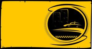 Roulez au sol le bouton avec la silhouette de taxi et la maison de ville illustration libre de droits