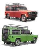 Roulez le véhicule tous terrains d'entraînement sur un fond blanc Photo libre de droits