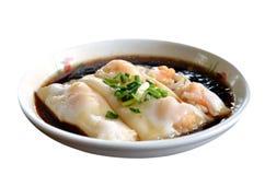 Roulis cuit à la vapeur de riz avec la crevette Photographie stock