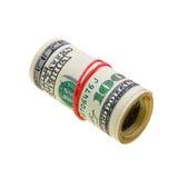 Roulis d'argent avec des factures de dollars US D'isolement sur le blanc Image stock
